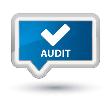 validate: Audit (validate icon) blue banner button Stock Photo