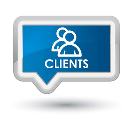 job satisfaction: Clients (group icon) blue banner button