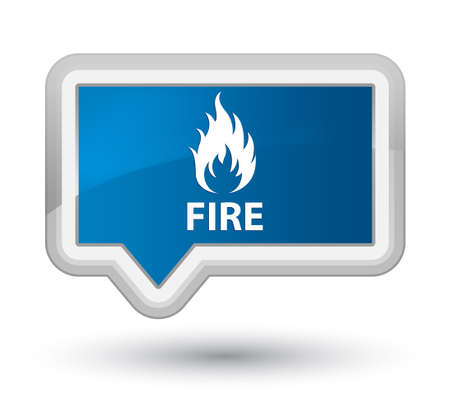 ominous: Fire blue banner button Stock Photo