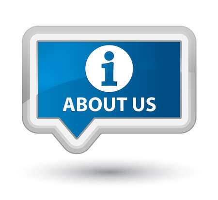 about us: About us blue banner button