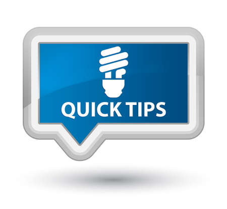 hints: Quick tips (bulb icon) blue banner button
