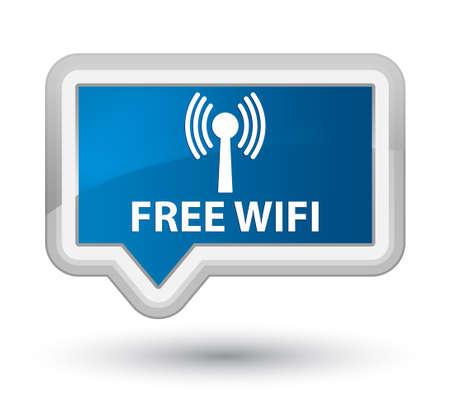 wlan: Free wifi (wlan network) blue banner button Stock Photo