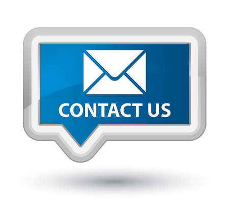 email contact: Contact us (email icon) blue banner button Stock Photo