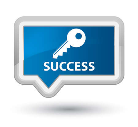 success key: Success (key icon) blue banner button Stock Photo