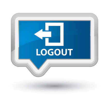 disconnect: Logout blue banner button Stock Photo