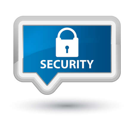 insecure: Security (padlock icon) blue banner button Stock Photo