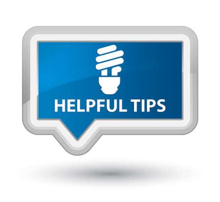 helpful: Helpful tips (bulb icon) blue banner button