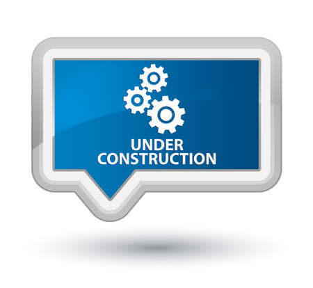 protection gear: Under construction (gears icon) blue banner button