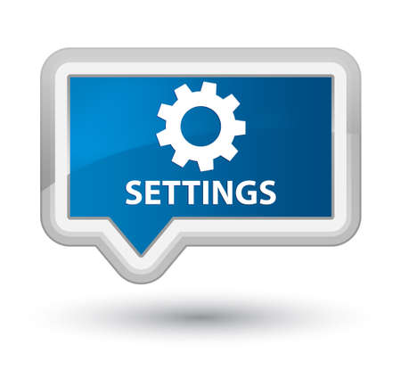settings: Settings blue banner button Stock Photo
