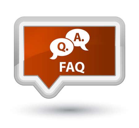 Faq (question answer bubble icon) brown banner button