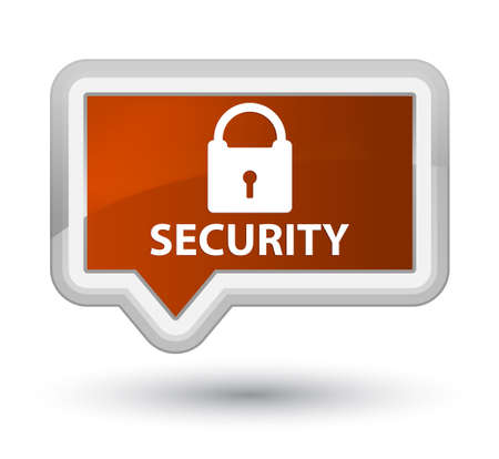 Security (padlock icon) brown banner button Stock Photo