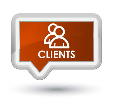 Clients (group icon) brown banner button Stock Photo