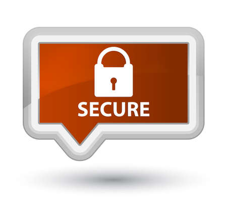 padlock icon: Secure (padlock icon) brown banner button Stock Photo