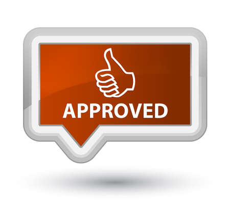 Approved (thumbs up icon) brown banner button Stock Photo