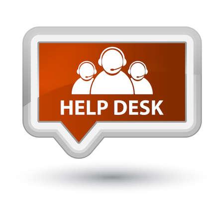 Help desk (customer care team icon) brown banner button Stock Photo