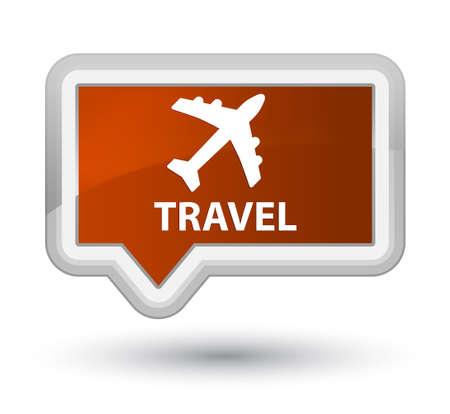airway: Travel (plane icon) brown banner button Stock Photo