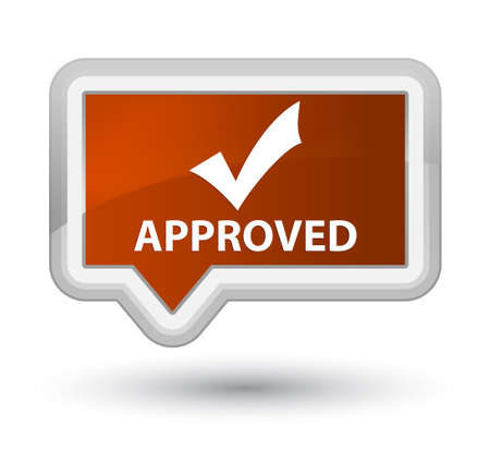 validate: Approved (validate icon) brown banner button Stock Photo