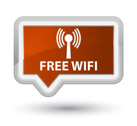 wlan: Free wifi (wlan network) brown banner button Stock Photo