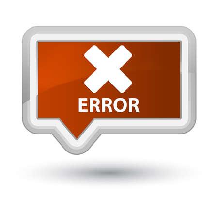 Error (cancel icon) brown banner button Stock Photo