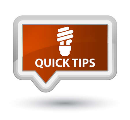 quick: Quick tips (bulb icon) brown banner button Stock Photo