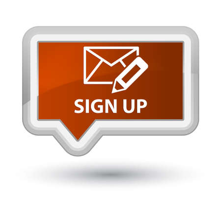 sign up: Sign up (edit mail icon) brown banner button
