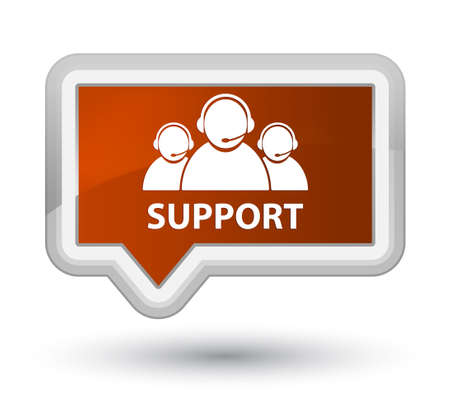 Support (customer care team icon) brown banner button