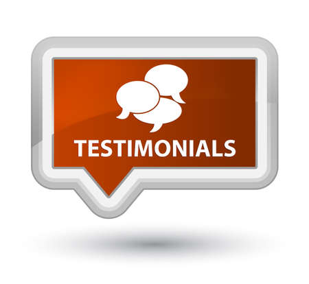 comments: Testimonials (comments icon) brown banner button