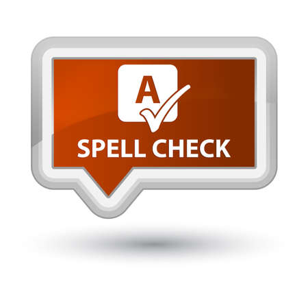 spell: Spell check brown banner button