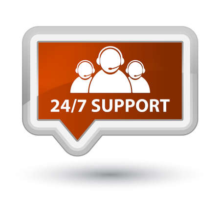 247 Support (customer care team icon) brown banner button
