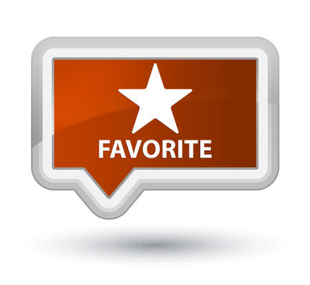 favorite: Favorite (star icon) brown banner button Stock Photo