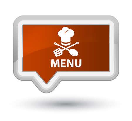 Menu (restaurant icon) brown banner button Stock Photo