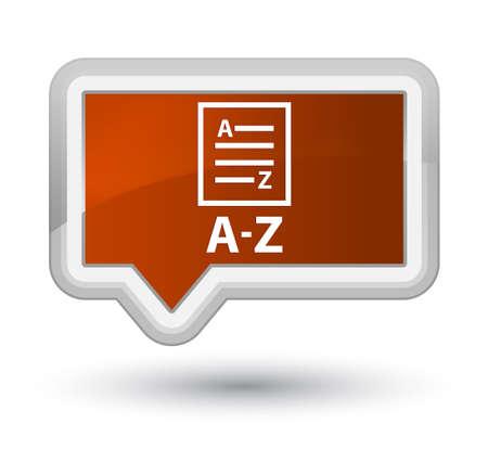 az: A-Z (list page icon) brown banner button Stock Photo
