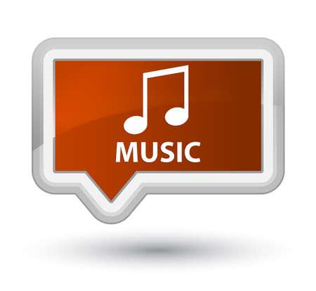 tune: Music (tune icon) brown banner button Stock Photo