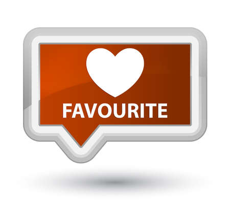favourite: Favourite (heart icon) brown banner button Stock Photo