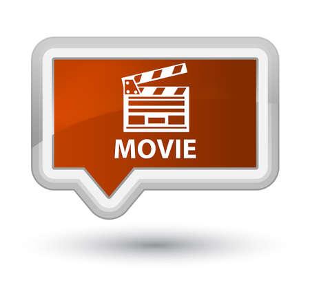 Movie (cinema clip icon) brown banner button