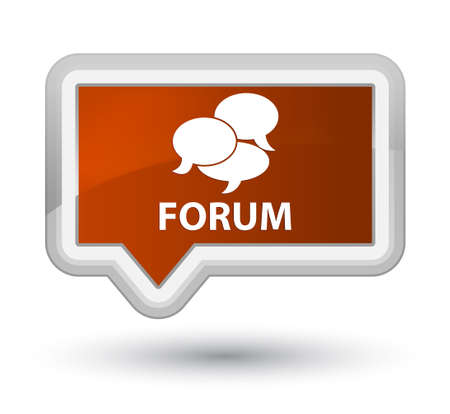 comments: Forum (comments icon) brown banner button Stock Photo