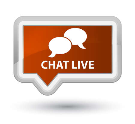 Chat live brown banner button Stock Photo