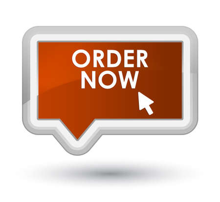 order now: Order now brown banner button Stock Photo