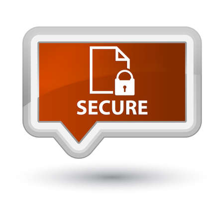 Secure (document page padlock icon) brown banner button