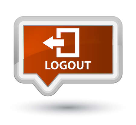 logout: Logout brown banner button Stock Photo