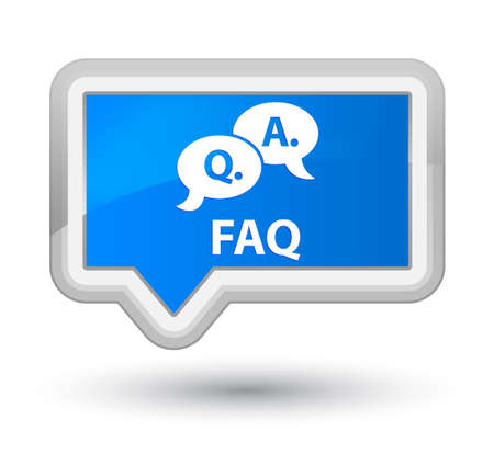 question and answer: Faq (question answer bubble icon) cyan blue banner button