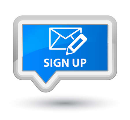 registry: Sign up (edit mail icon) cyan blue banner button