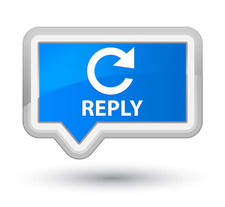 reply: Reply (rotate arrow icon) cyan blue banner button