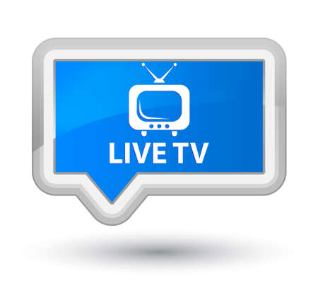 tv station: Live tv cyan blue banner button Stock Photo