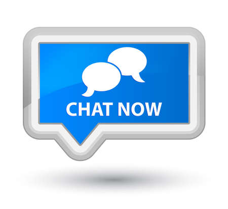 instant message: Chat now cyan blue banner button