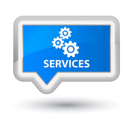 preference: Services (gears icon) cyan blue banner button Stock Photo
