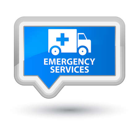 emergency services: Emergency services cyan blue banner button