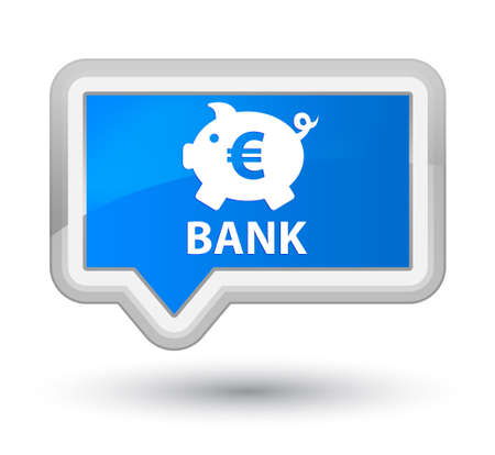 economical: Bank (piggy box euro sign) cyan blue banner button