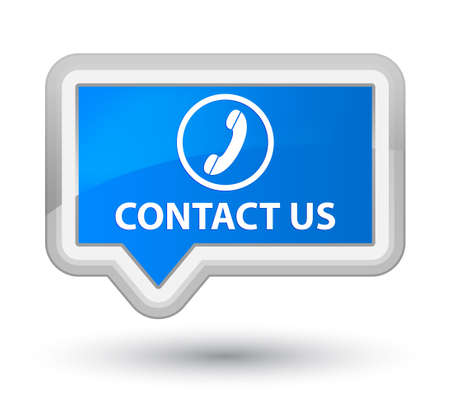 contact us phone: Contact us (phone icon round border) cyan blue banner button
