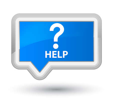cyan: Help (question icon) cyan blue banner button Stock Photo